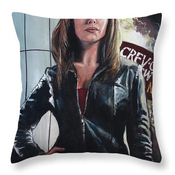 Gwen Cooper Throw Pillow by Tom Carlton