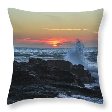 Gwithian Beach Sunset  Throw Pillow by Claire Whatley