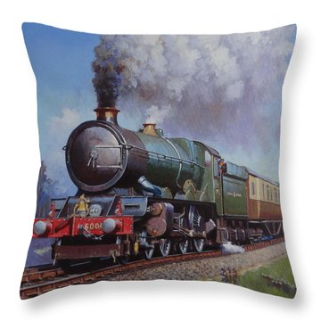 Throw Pillow featuring the painting Gwr King On Dainton Bank. by Mike  Jeffries