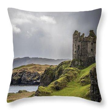 Gylen Castle On Kerrera In Scotland Throw Pillow