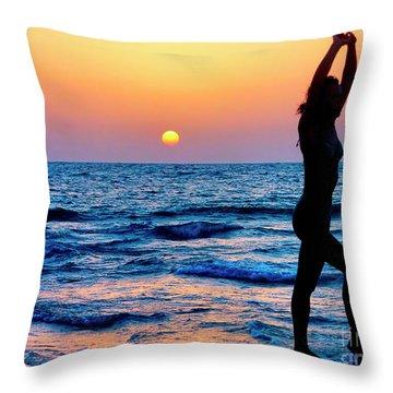 Gymnastics At Sun Set Over Mediterranean Sea Throw Pillow