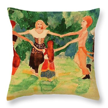 Gypsies Dancing Throw Pillow