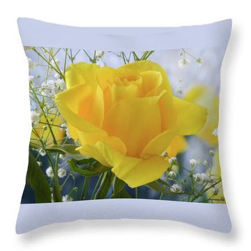 Gypsophila And The Rose. Throw Pillow by Terence Davis
