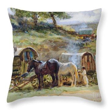 Gypsy Encampment Throw Pillow by John Atkinson