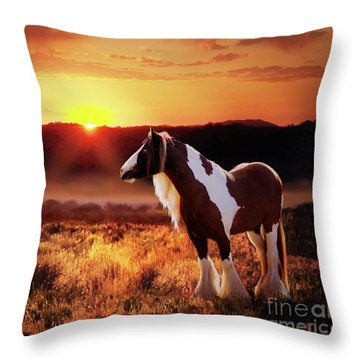 Throw Pillow featuring the digital art Gypsy Sunset by Melinda Hughes-Berland