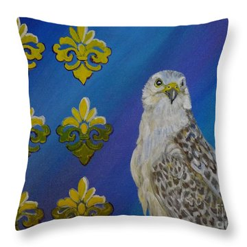 Gyr Falcon Throw Pillow by Isabel Proffit