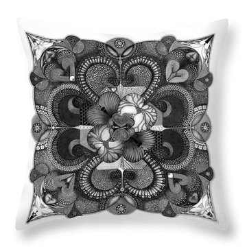 Throw Pillow featuring the drawing H2H by James Lanigan Thompson MFA