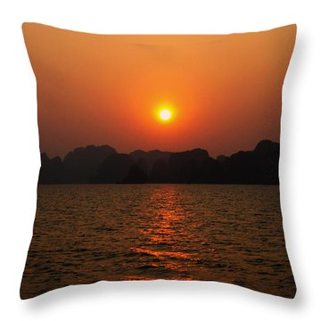 Ha Long Bay Sunset 2 Throw Pillow by Oliver Johnston