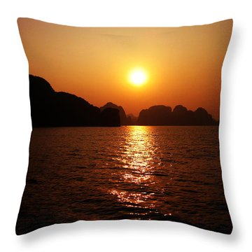 Ha Long Bay Sunset Throw Pillow by Oliver Johnston