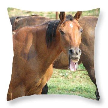Haaaaa Throw Pillow by Amanda Barcon
