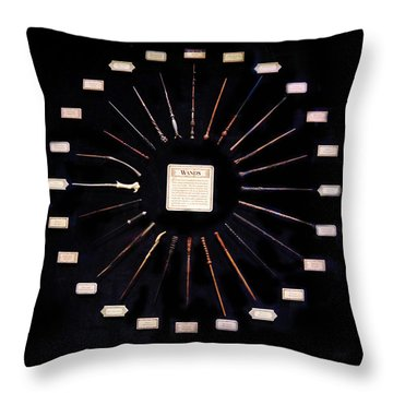 Throw Pillow featuring the mixed media Harry Potter Wands by Gina Dsgn