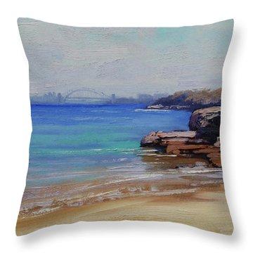 Habour Beach Sydney Throw Pillow