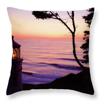 Haceta Head Lighthouse Throw Pillow