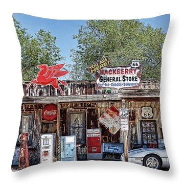 Hackberry General Store On Route 66, Arizona Throw Pillow