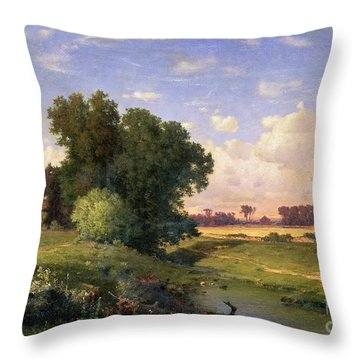 Hackensack Meadows - Sunset Throw Pillow by George Snr Inness