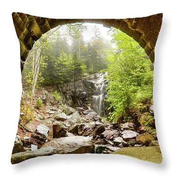 Throw Pillow featuring the photograph Hadlock Falls Under Carriage Road Arch by Jeff Folger