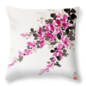 Hagi / Bush Clover Throw Pillow