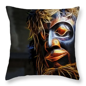 Haida Head Throw Pillow by Cameron Wood