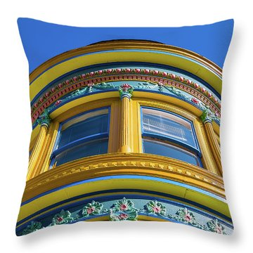 Haight Ashbury Painted Victorian Throw Pillow