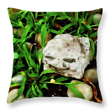 Haight Ashbury Smiling Rock Throw Pillow