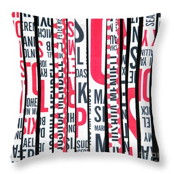 Throw Pillow featuring the mixed media Haiku In Red And Black by Elena Nosyreva