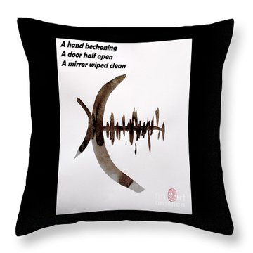 Haiku Poem And Painting Throw Pillow by Roberto Prusso