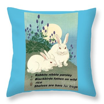 Throw Pillow featuring the painting Haiku  Rabbits Nibble Parsley by Pg Reproductions