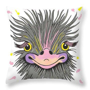 Hair Raising Day - Contemporary Ostrich Art Throw Pillow