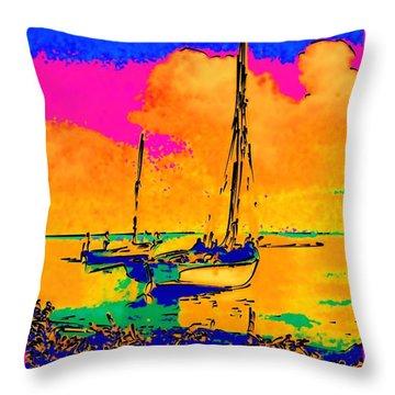 Haitian Fishing Boats Throw Pillow by Diane E Berry