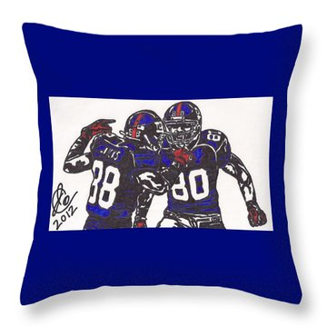 Throw Pillow featuring the drawing Hakeem Nicks And Victor Cruz by Jeremiah Colley