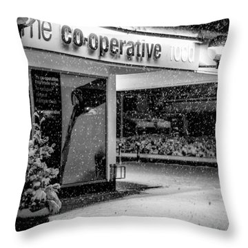 Hale Barns Co-op In The Snow Throw Pillow