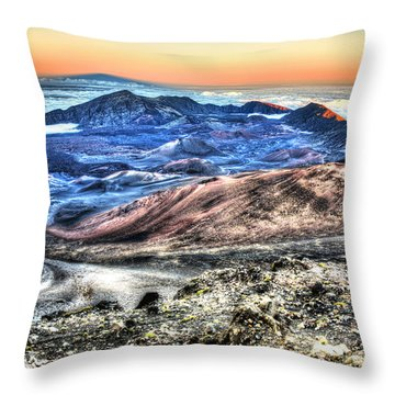 Haleakala Crater Sunset Maui Throw Pillow by Shawn Everhart