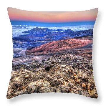 Haleakala Crater Sunset Maui II Throw Pillow by Shawn Everhart
