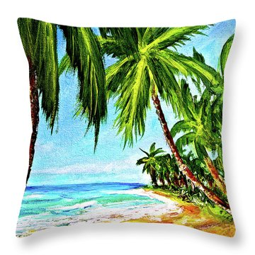 Haleiwa Beach #369 Throw Pillow by Donald k Hall