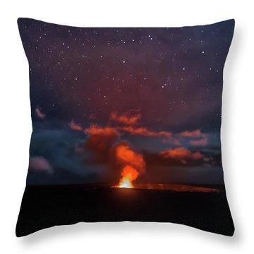 Halemaumau Crater At Night Throw Pillow