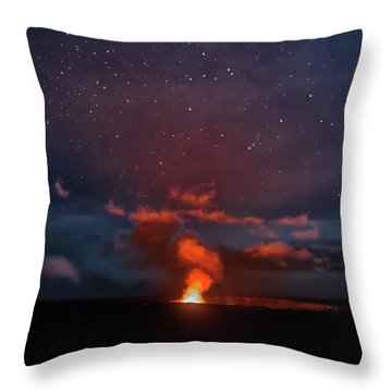 Halemaumau Crater At Night Throw Pillow