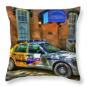 Throw Pillow featuring the photograph Half And Half What Is It Manna Savannah Georgia Police Art by Reid Callaway