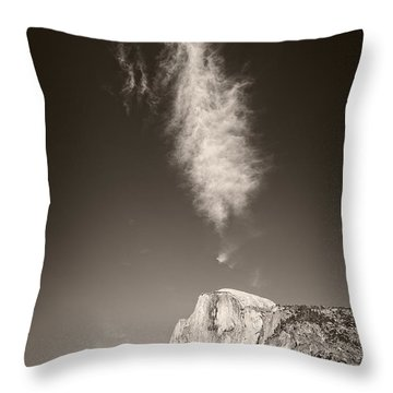 Throw Pillow featuring the photograph Half Dome And Cloud by Bryan Mullennix