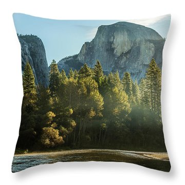 Half Dome And Merced River Autumn Sunrise Throw Pillow