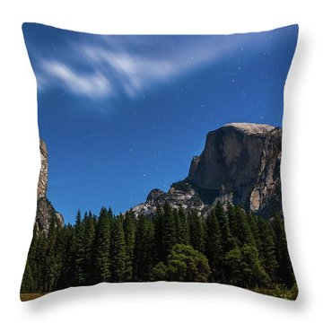 Half Dome And Moonlight - Yosemite Throw Pillow