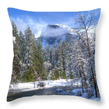 Half Dome And The Merced River Throw Pillow by Bill Gallagher