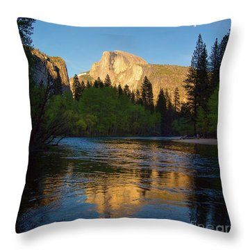 Half Dome And The Merced River With The Moon Throw Pillow