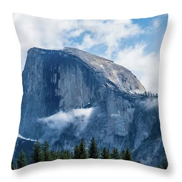 Half Dome In The Clouds Throw Pillow