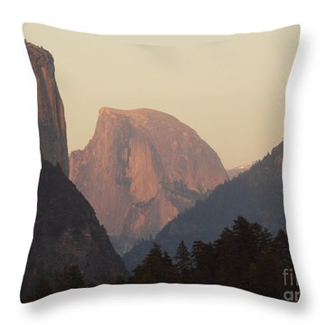 Half Dome Rising In Distance Throw Pillow by Max Allen