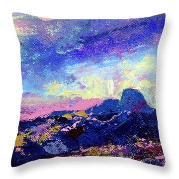 Throw Pillow featuring the painting Half Dome Summer Sunrise by Walter Fahmy