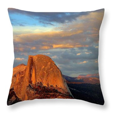 Half Dome Sunset Colorful Clouds Vertical Throw Pillow by Jeff Lowe