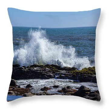 Wave Crashing On California Coast 1 Throw Pillow