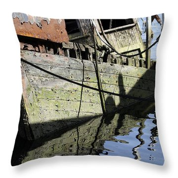 Half Sunk Boat Throw Pillow