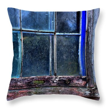 Half Window Colors In An Abandoned Building. Throw Pillow
