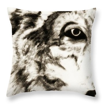 Pencil Drawing Of Half Wolf Face By Ayasha Loya Throw Pillow